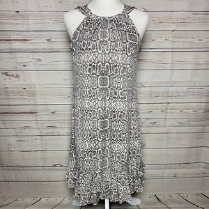 MSK Snakeskin Sequined Dress Ruffle Hem Gray Small